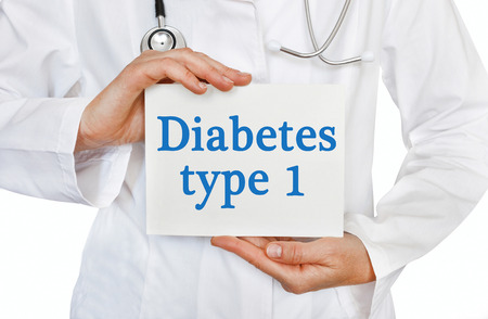 hyperglycemia: Diabetes Type 1 card in hands of Medical Doctor Stock Photo