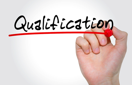 Hand writing inscription Qualification with marker, concept Stockfoto