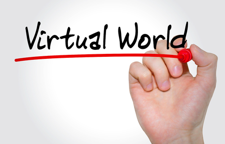 virtual world: Hand writing inscription Virtual World with marker, concept