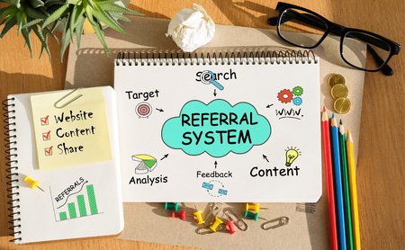 referidos: Notebook with Toolls and Notes about Referral System Foto de archivo