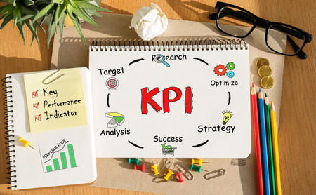 Notebook with Toolls and Notes about KPI,concept Фото со стока