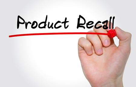 Hand writing inscription Product Recall with marker, concept