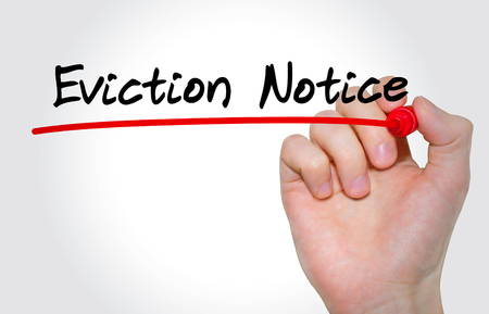 Hand writing inscription Eviction Notice with marker, concept