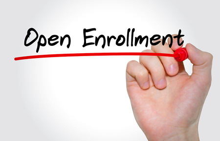 Hand writing inscription Open Enrollment with marker, concept Standard-Bild