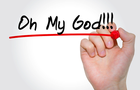 Hand writing inscription Oh My God with marker, concept 版權商用圖片