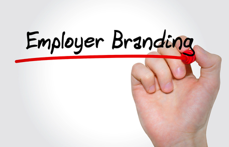 Hand schrijven inscriptie werkgever Branding met marker, concept Stockfoto - 86124144