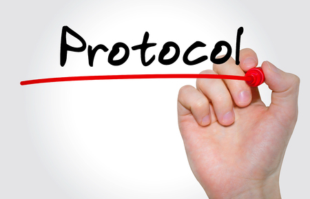 Hand writing inscription Protocol with marker, concept