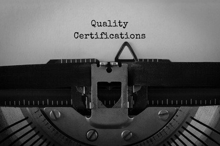 Text Quality Certifications typed on retro typewriter