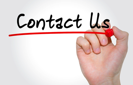 Hand writing inscription Contact Us with marker, concept Stock Photo