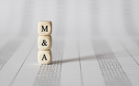 Word M AND A made with wood building blocks Stockfoto