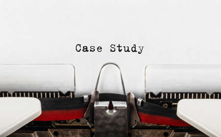 Text Case Study typed on retro typewriter.