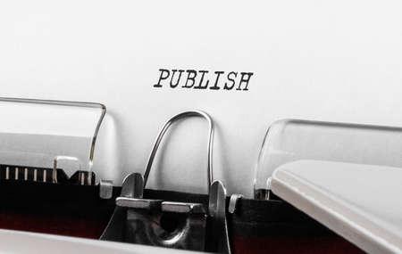 Text Publish typed on retro typewriter.