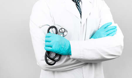 Medicine doctor with stethoscope in hand.Healthcare and medical concept