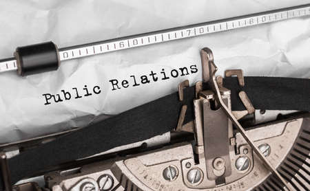 Text Public Relations typed on retro typewriter Stock Photo