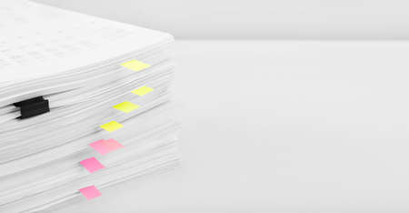 Stack of report financial data. Concept of business, finance and data research. Stock Photo