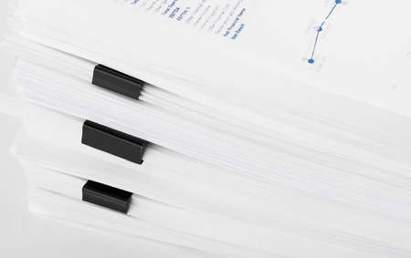 Stack of report financial documents Concept of business and search.