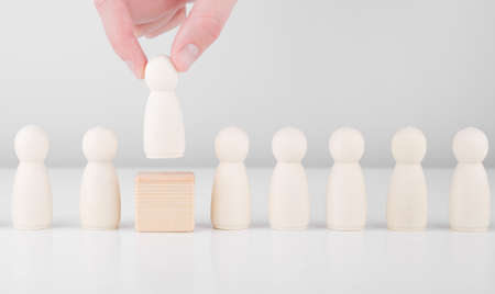 Staff recruitment. Many employees and the choice of a leader from the crowd. Human resources, headhunting and CEO concept