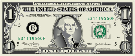 one on one: A Stylized Drawing of a  Dollar Bill