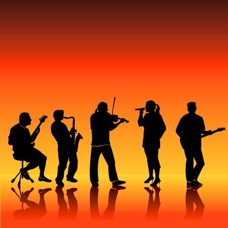 Een afbeelding bestaande uit een muzikale band bestaat uit een gitarist, saxofonist, violist, bassist en een zanger.