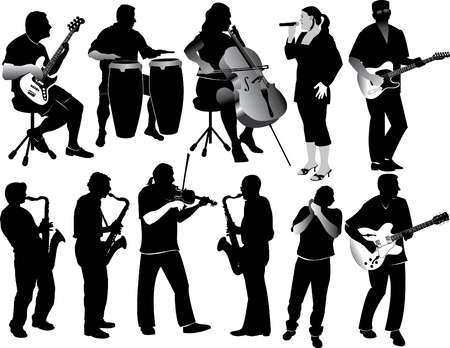 silhouetted: Illustration of eleven silhouetted people playing various instruments.