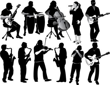 musicos: Ilustraci�n silhouetted de once personas desempe�ando diversos instrumentos.