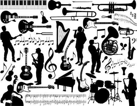 An illustration covering a broad range of musicians, singers, instruments and notation in silhouetted form.