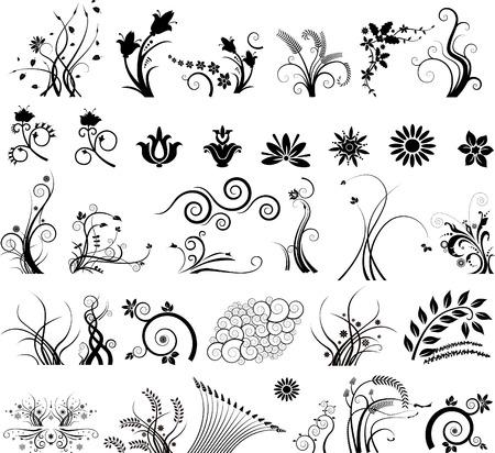 芸術的な黒と白の花柄とアイコンの創造的なコレクションです。  イラスト・ベクター素材