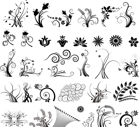 A creative collection of artistic black and white floral designs and icons.