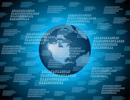 地球地球の背景を持つバイナリ コード  イラスト・ベクター素材