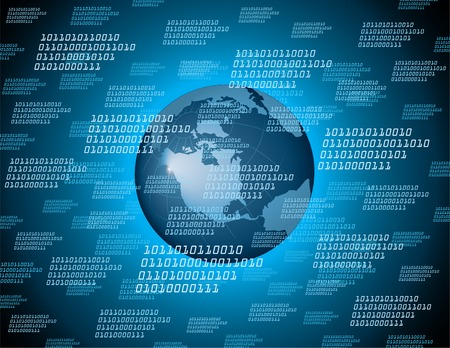 computer hacker: codice binario terra con un mondo di fondo