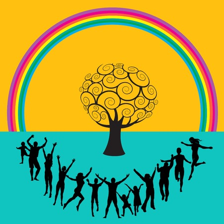 girl: Outdoor people having fun around a tree with rainbow Illustration