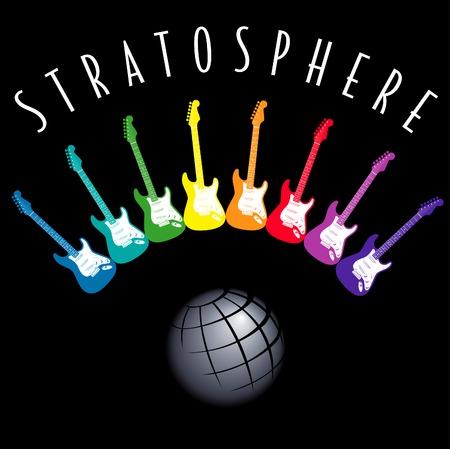 frets: Guitarras el�ctricas en un arco iris la creaci�n de un estratosfera alrededor de la Tierra  Vectores