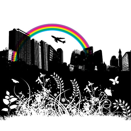 floral city rainbow plane background