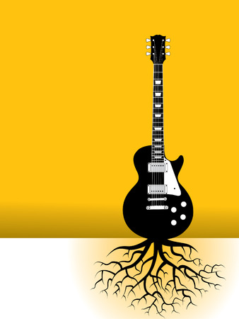 A guitar as a tree with roots Vector