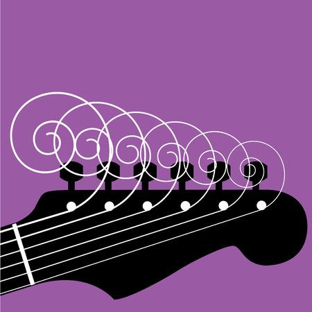 rock logo: Cabezal de la guitarra con cuerdas rizado