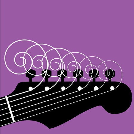 logo music: Guitar headstock with curly strings Illustration