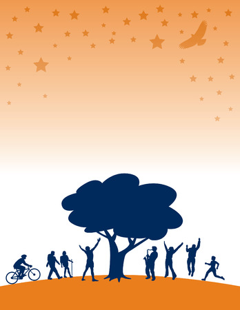 under a tree: People having summer fun under a tree with stars Illustration