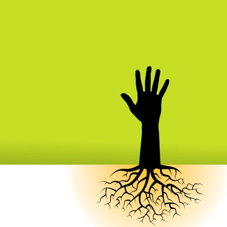 This vector background has a hand with tree roots Illusztráció
