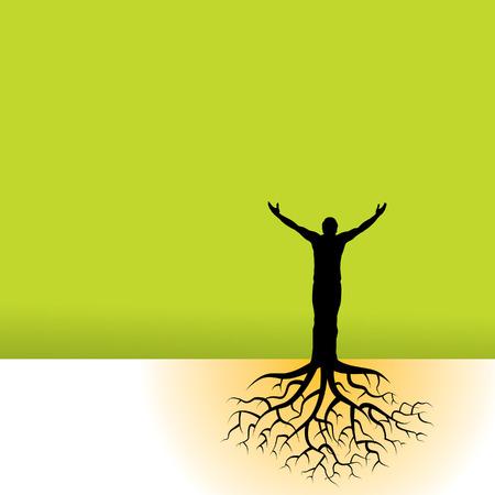 racines: Ce vecteur d'information a un homme avec les racines des arbres  Illustration