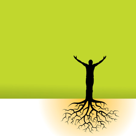 joy of life: This vector background has a man with tree roots