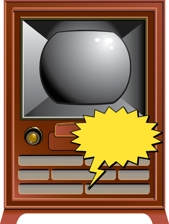 Vintage TV with space for text and speech balloon Vector
