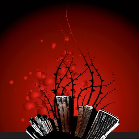 Red grunge city background Vector