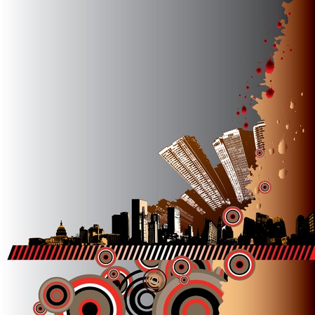 city view: Grunge city background Illustration