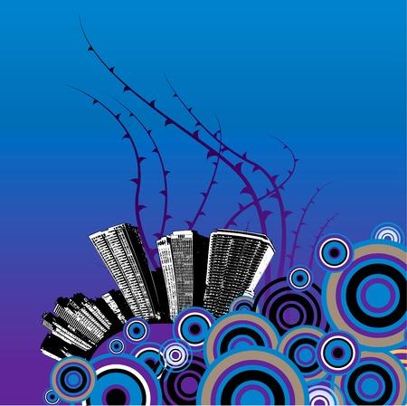 Blue grunge city background Vector