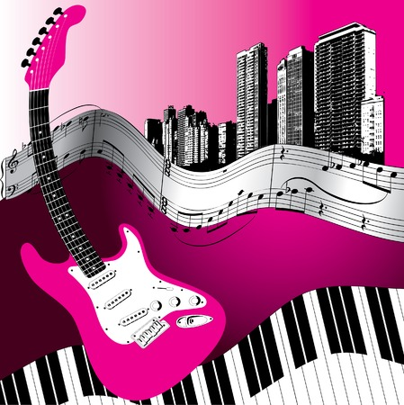 City guitar vector music background Stock Vector - 3189493
