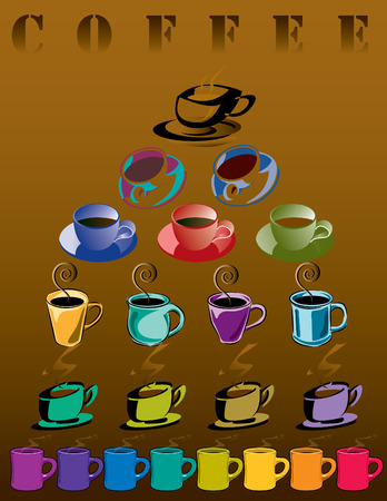 colors: Poster of 22 coffee cups