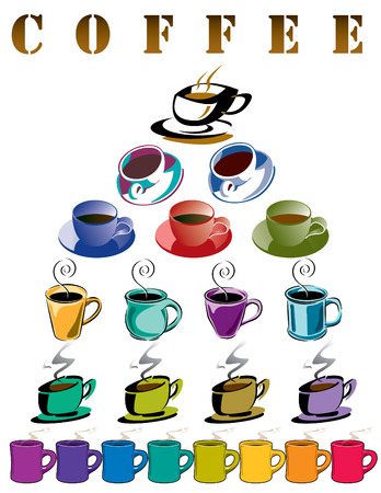 Poster of 22 coffee cups Vector