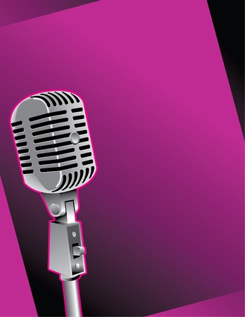 pictorial: Graphic of old-fashioned microphone against purple background