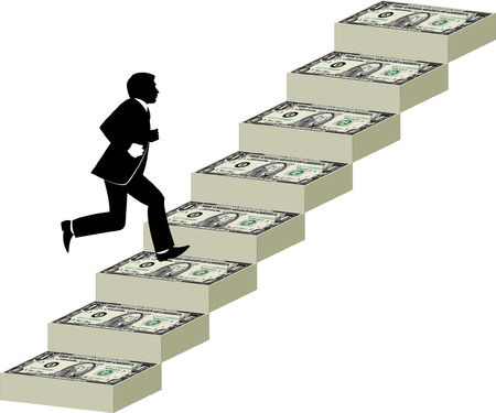 upstairs: Businessman runs up a stairway made of money Illustration