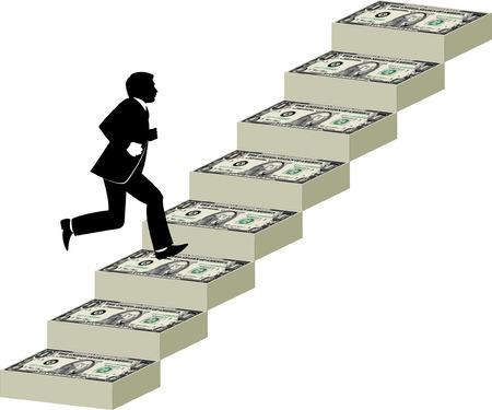 runs: Businessman runs up a stairway made of money Illustration